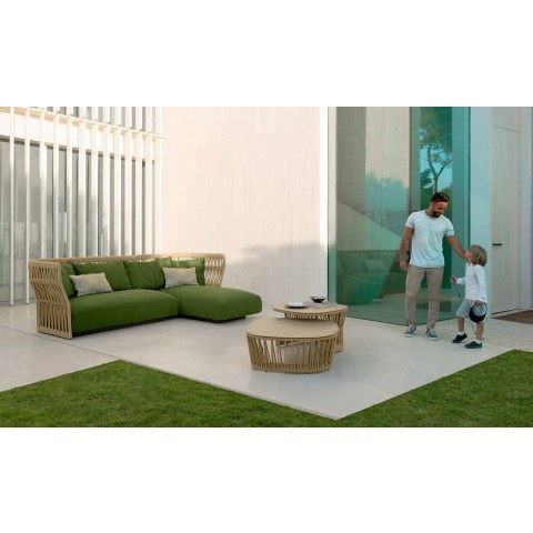 Outdoor lounge with Cliff Talenti sofa and small tables, design Palomba