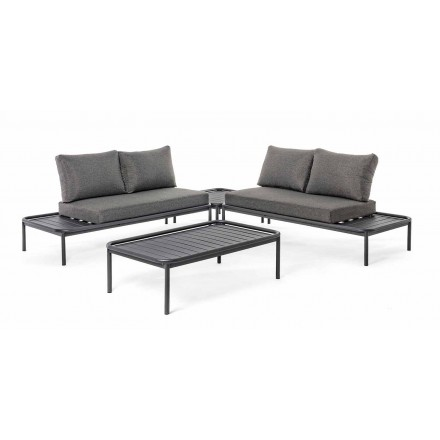 Homemotion Modern Living Room in Aluminum and Anthracite Fabric - Palmira