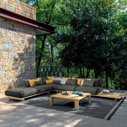 Garden Lounge with Pouf and Coffee Table in High Quality Wood - Argo by Talenti