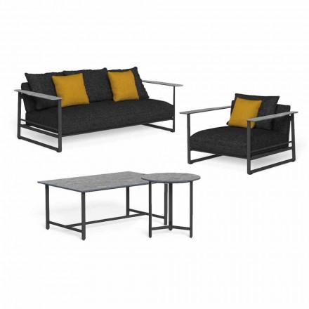 Luxury Garden Lounge in Aluminum, Stoneware and Fabric - Riviera by Talenti