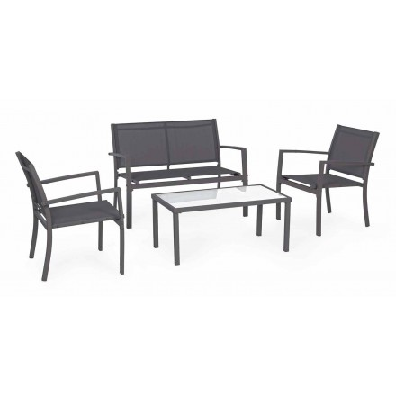 Garden lounge in Steel and Textilene, Sofa, Armchairs and Coffee Table - Osseo