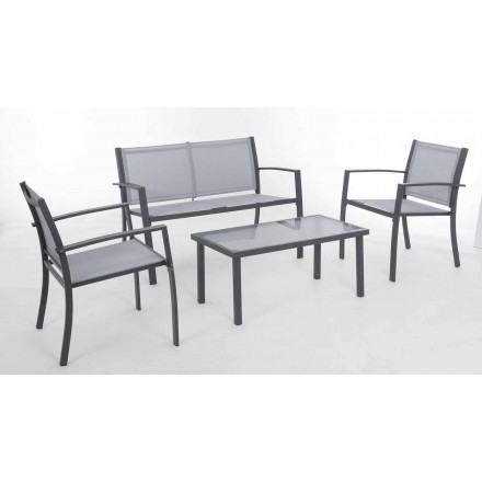 Garden lounge in White or Gray Steel and Design Textilene - Skeleton