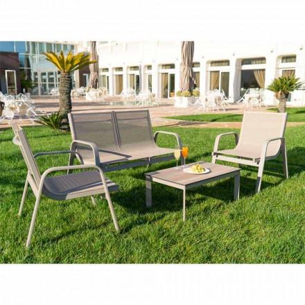 Garden Lounge in Aluminum, Canvas and Precious HPL Made in Italy - Atollo
