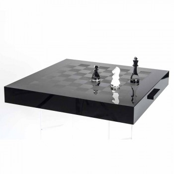 Chessboard for Chess and Design Checkers in Black and White Plexiglass - Chess