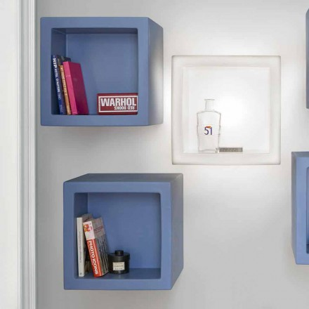 Modern design colored cube-shaped shelf Slide Open Cube, made in Italy