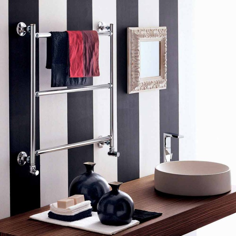 Modern chrome plated electric towel rail Gaia by Scirocco H