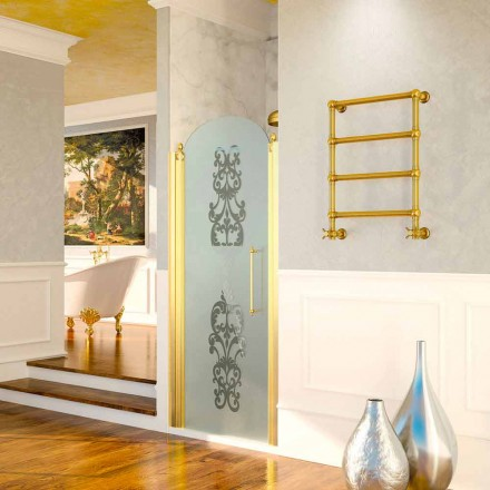 Design electric golden towel warmer in brass Scirocco H Caterina