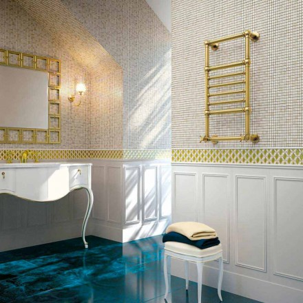 Hydraulic towel warmer in gold brass Scirocco H Amira made in Italy