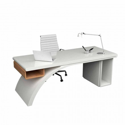 Modern office desk made of wood and Solid Surface Bridge
