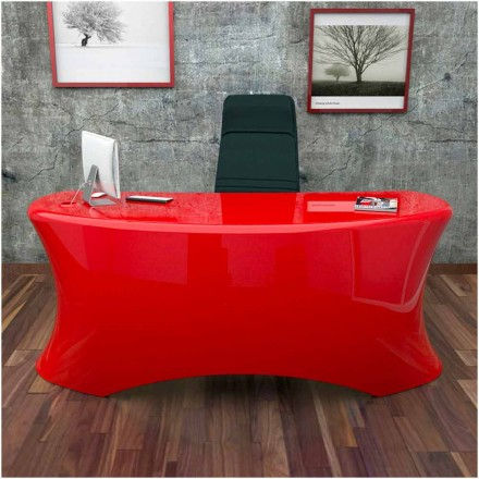 Modern office desk Ely, made in Italy, available in black, white, red