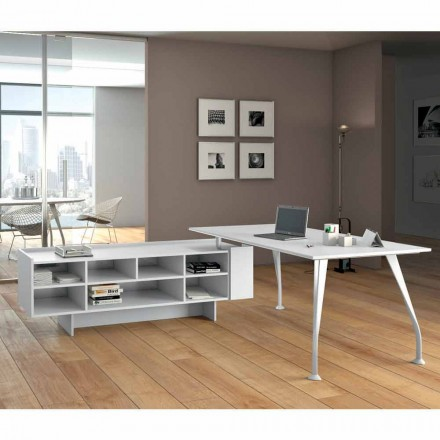 White office desk Della Rovere Segno, made of melamine
