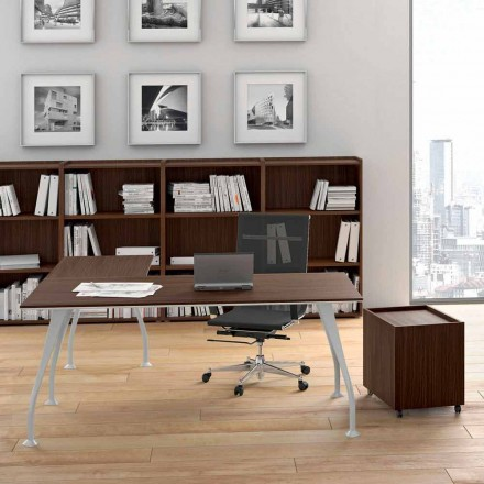 Dark office desk Della Rovere Segno, made of melamine