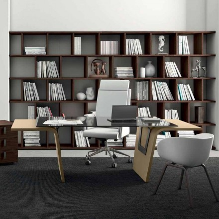 Office desk Larus with glass top, designed by Andrea Stramigioli