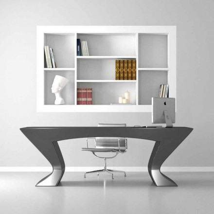 Modern design office desk Nefertiti, made of Solid Surface and wood