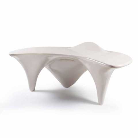 Contemporary design office desk Sinuous, handmade in Italy