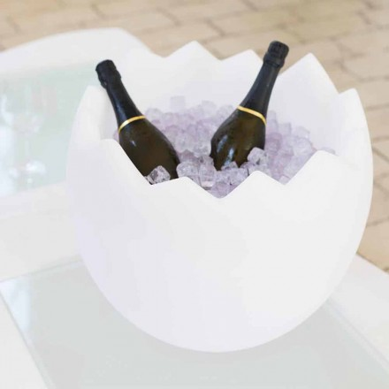 Bright white ice bucket Slide Kalimera, produced 100 % in Italy