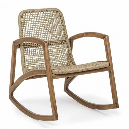 Outdoor Rocking Chair in Teak Wood and Synthetic Fiber Weaving - Tosca
