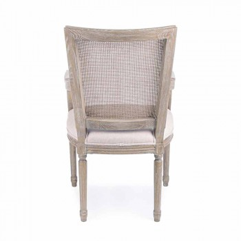 Classic Chair with Armrests in Ash Wood and Homemotion Fabric - Meringue