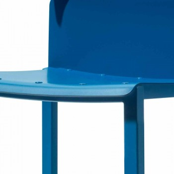 Colored Stackable Chair for Outdoor in Aluminum Made in Italy - Dobla