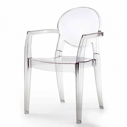Chair with Armrests Completely in Polycarbonate - Dalila