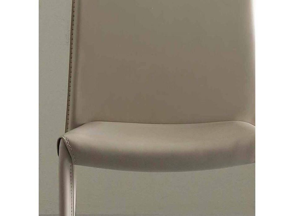 Chair Fully Upholstered in Imitation Leather, Modern- Eloisa