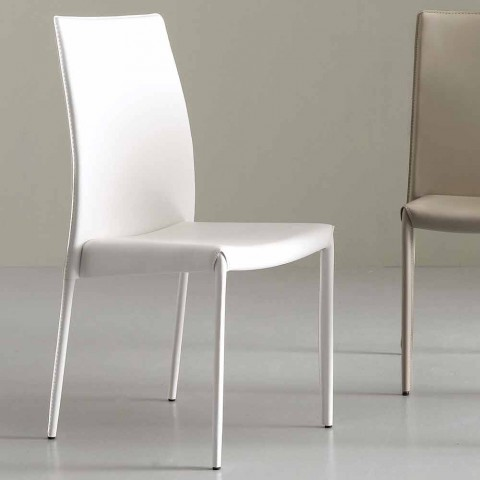 Chair Fully Upholstered in Imitation Leather, Modern- Eloisa