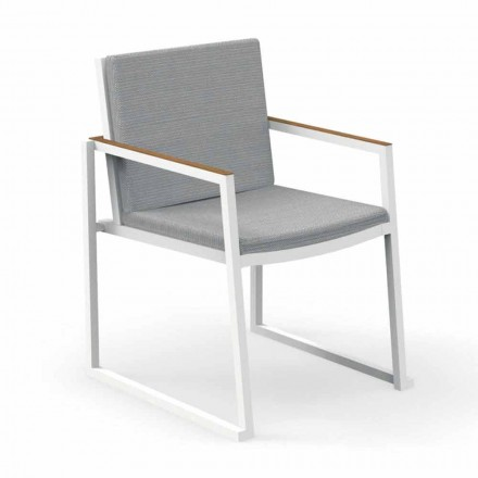 Garden Chair with Armrests in Aluminum and Fabric - Alabama Alu by Talenti
