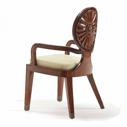 Modern design armchair with armrests Nicole, smooth wooden structure
