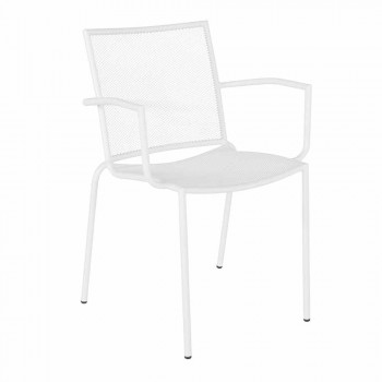 Chair with Armrests in White Steel Design for Outdoor Garden - Magamago