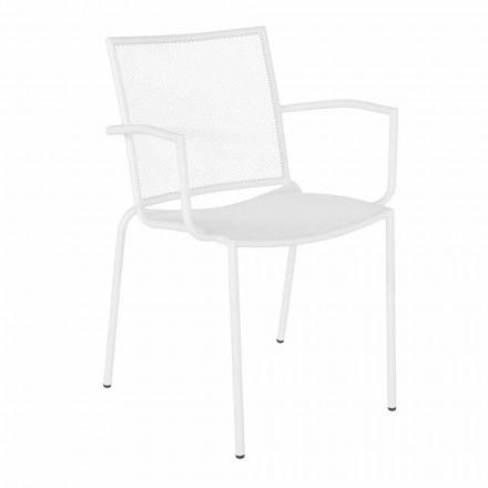Design Garden Chair with Armrests Stackable in White Steel - Magamago
