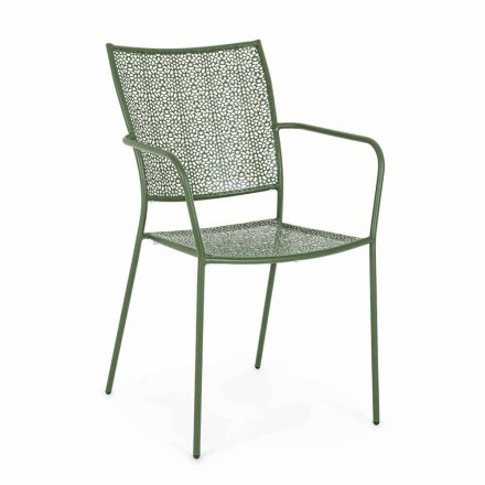 Garden Chair with Armrests Stackable Decorated Steel - Slipper