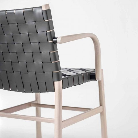 Chair with Armrests in Bleached Beech and Seat in Leather Made in Italy - Nora