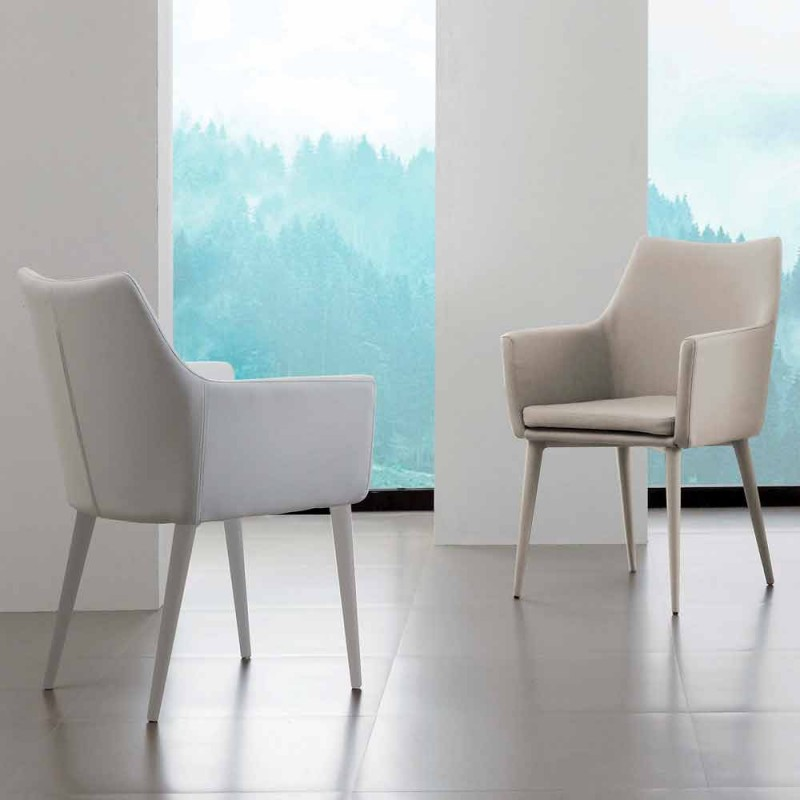 Chair with armrests Carlina, with eco-leather upholstery