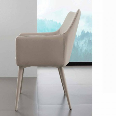 Chair with arms in metal covered with Carlina eco-leather