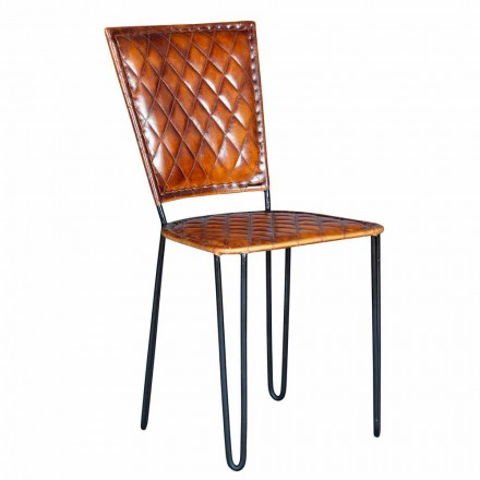 Ethnic Style Chair with Leather Seat and Iron Legs - Kalenda