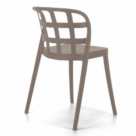 Modern Stackable Polypropylene Kitchen Chair Made in Italy, 4 Pieces - Carrot