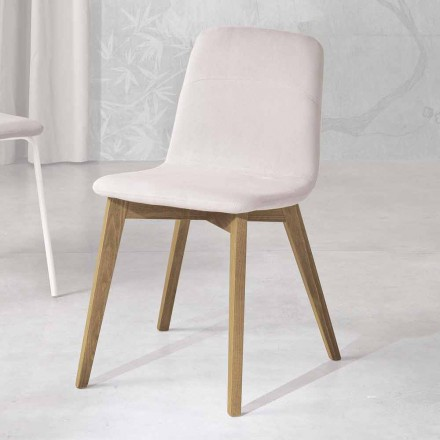 Design chair in wood and fabric for kitchen made in Italy, Egizia