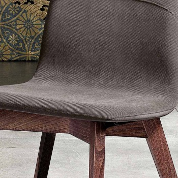 Design kitchen chair in wood and fabric made in Italy, Egizia