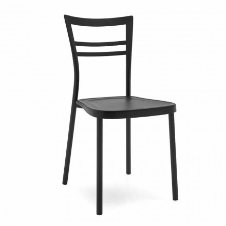 Modern Design Kitchen Chair in Polypropylene and Metal Made in Italy, 2 pieces - Go