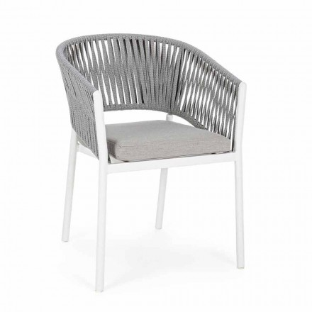 Outdoor Chair with Armrests in White and Gray Aluminum Homemotion - Rubio