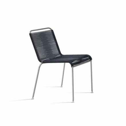 Outdoor Design Chair in Steel and Black Cord Made in Italy - Madagascar1