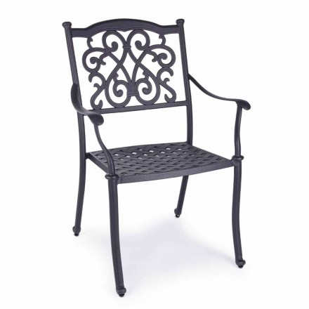 Stackable Outdoor Chair in White or Anthracite Aluminum, 4 Pieces - Ode