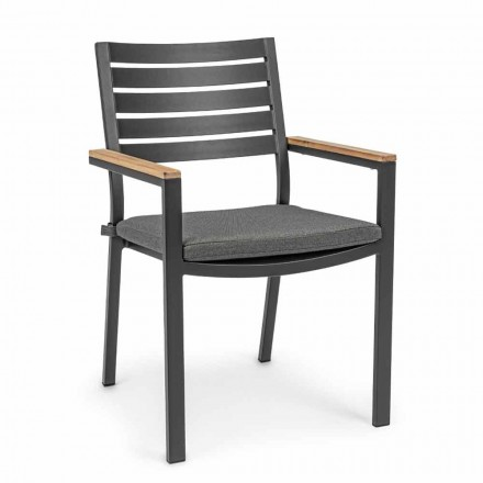 Stackable Outdoor Chair in Aluminum with Seat Cushion, 4 Pieces - Nasha