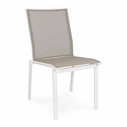 Stackable Outdoor Chair in Aluminum and Textilene, Homemotion 4 Pieces - Serge