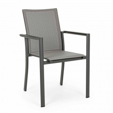 Stackable Outdoor Chair in Painted Aluminum, Homemotion, 4 Pieces - Vicki
