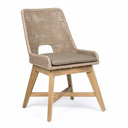 Outdoor Chair in Rope and Fabric with Teak Base, Homemotion 2 Pieces - Lesya