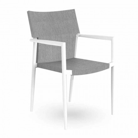 Garden Chair with Armrests Stackable Aluminum and Textilene - Adam Talenti