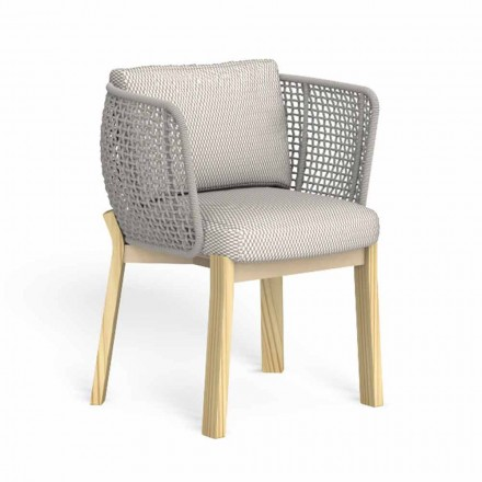 Garden Chair with Armrests in Rope, Fabric and Wood - Argo by Talenti