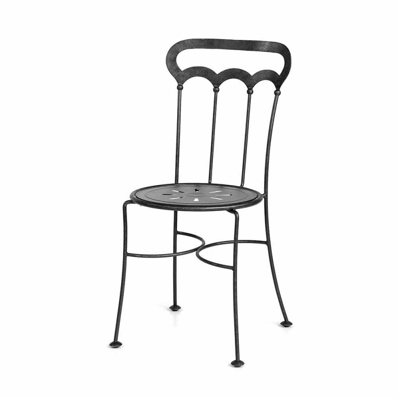 Stackable Garden Chair in Graphite Iron Made in Italy, 2 Pieces - Catrina