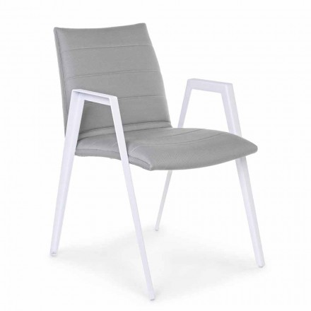 Modern Garden Chair with Armrests in White Aluminum Homemotion - Liliana